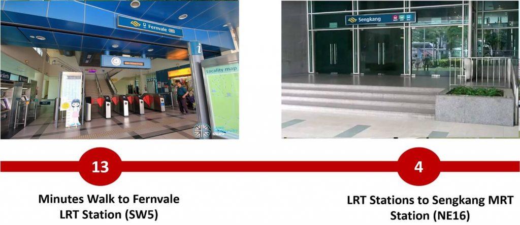 Distance from Parc Greenwich to Fernvale LRT and Sengkang MRT