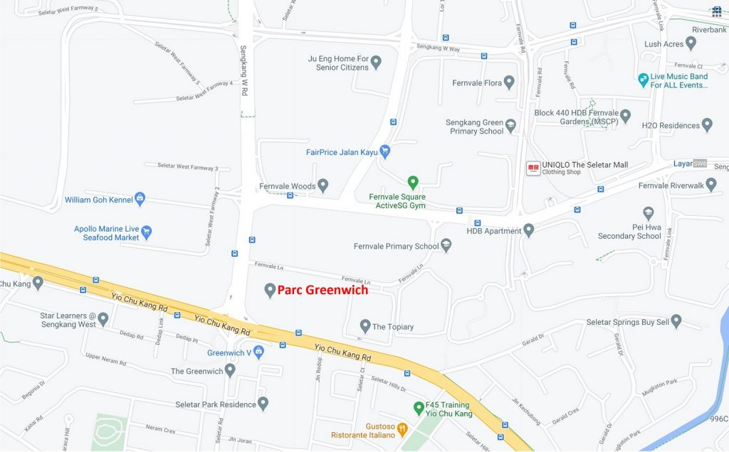 Parc Greenwich Location Map